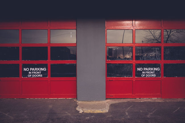 Architecture Building Built Structure City Closed Empty Exterior Garage Doors Red Symetrical