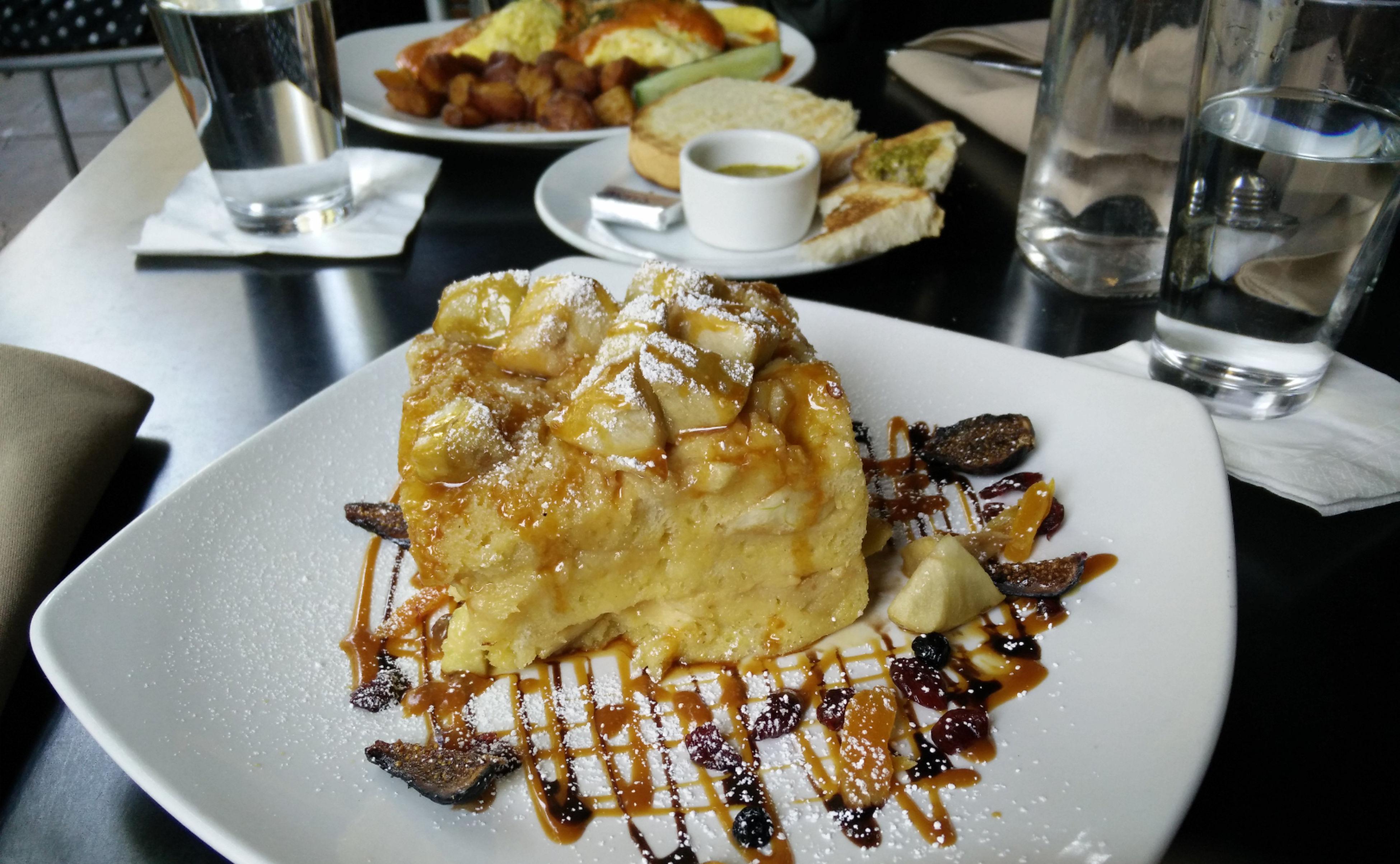 Baked apple caramel french toast Old Vine Cafe Food Brunch Coasta Mesa