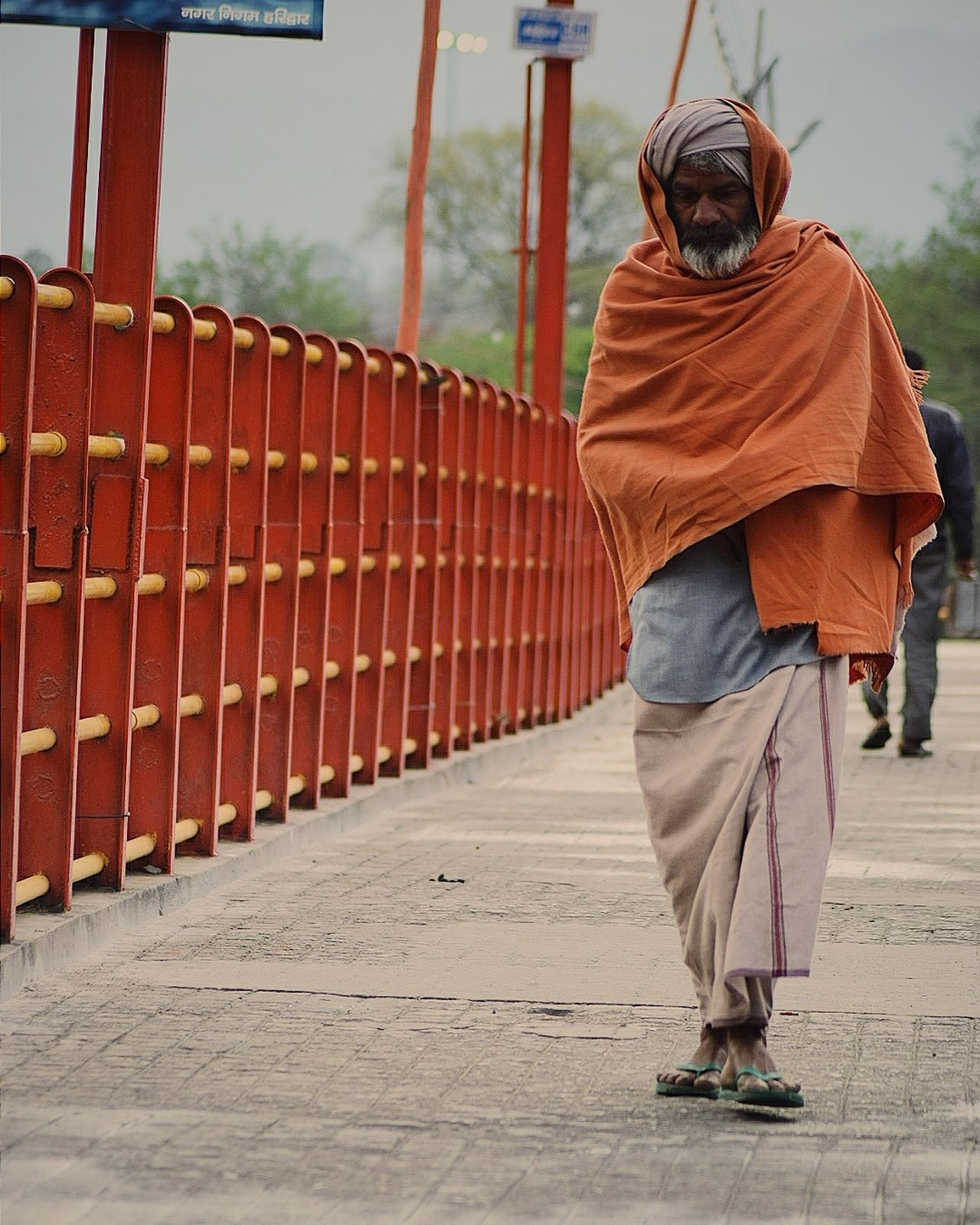 Orange Felling Religious Monk  Haridwar Uttrakhand Indiapictures Bridge View