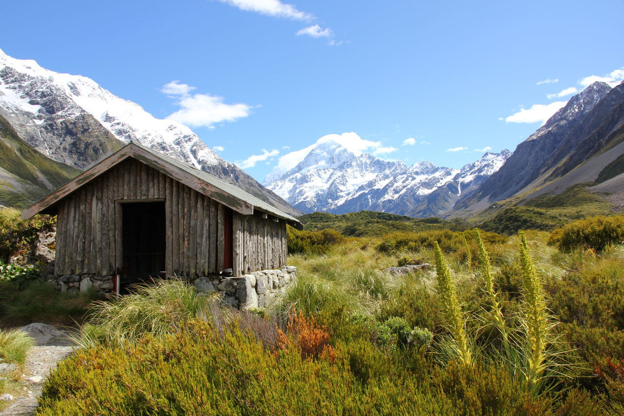 Adventure Beauty In Nature Built Structure Cloud - Sky Grass Landscape Mountain Mountain Range Mt. Cook National Park Nature New Zealand Outdoors Plant Scenics Sky Tranquil Scene Tranquility EyeEmNewHere