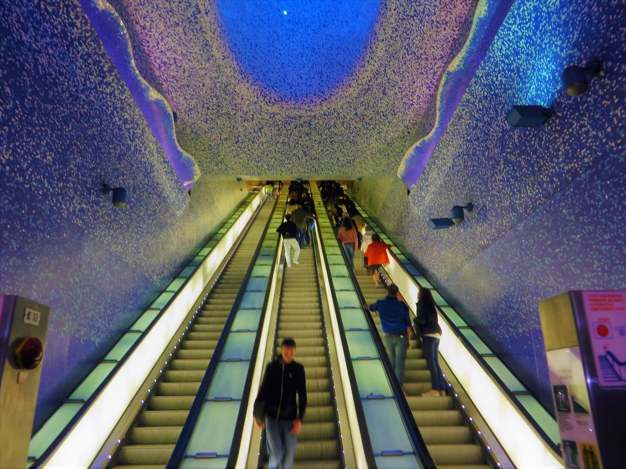 Adult Architecture Convenience Day High Angle View Illuminated Indoors  Large Group Of People Leisure Activity Lifestyles Men Metro Station Modern People Real People Steps Steps And Staircases Subway Station Technology Toledo Metro Staton Napoli Women