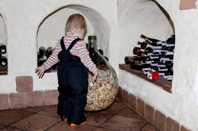 A Lot Of Bottles Bottles !!!! Bottles Collection Bottles Of Wine Casual Clothing Child Full Length Rear View Wine Cellar Wine Cork Wine Corks