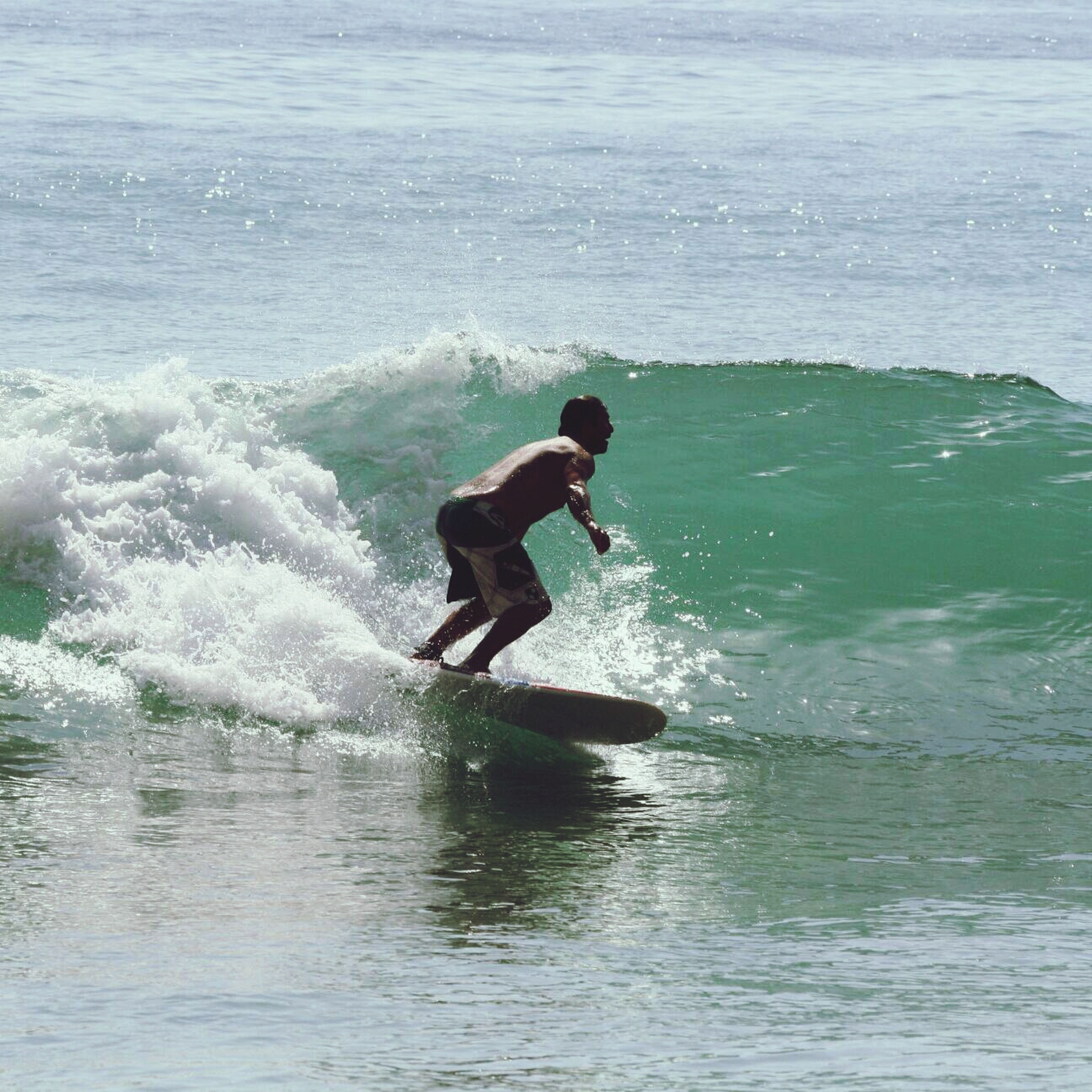 water, sea, wave, motion, waterfront, splashing, leisure activity, surf, lifestyles, men, surfboard, nature, vacations, surfing, sport, full length, adventure, skill