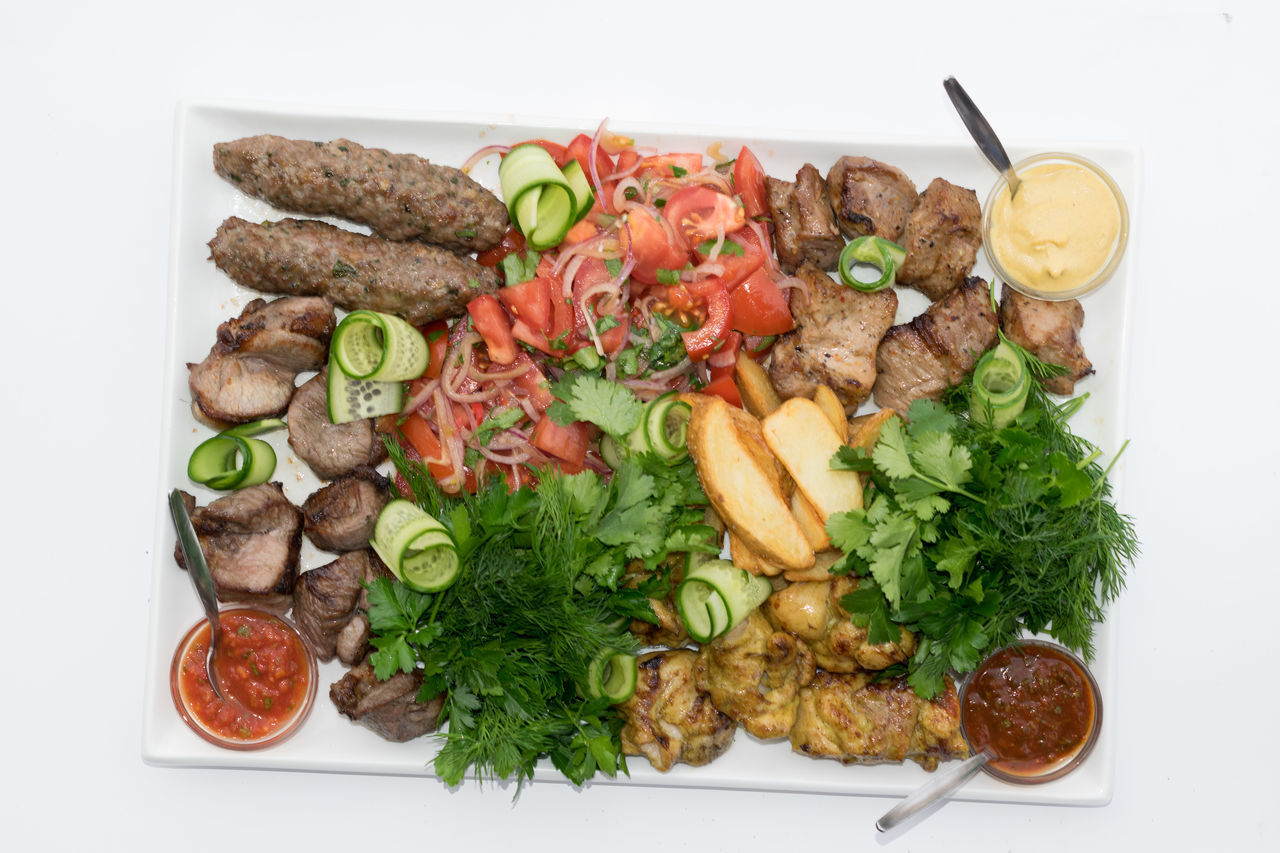 food and drink, food, freshness, ready-to-eat, no people, meat, directly above, healthy eating, vegetable, plate, slice, garnish, white background, indoors, close-up, day