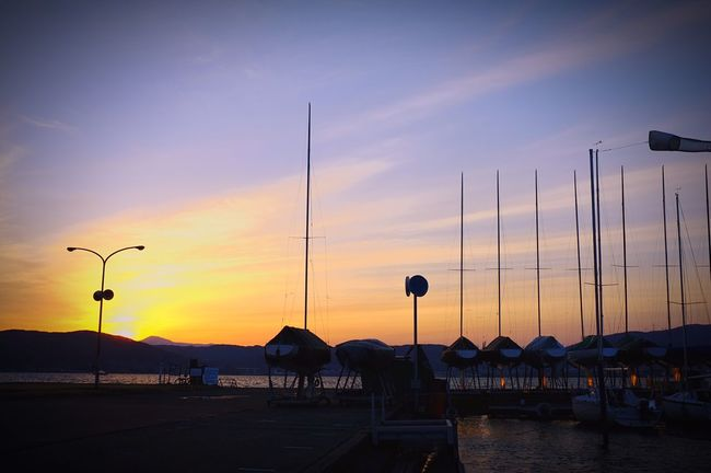 長野県 諏訪市 諏訪湖 ヨットハーバー Japan Nagano Suwa Suwa Lake Lake Sunset Boat