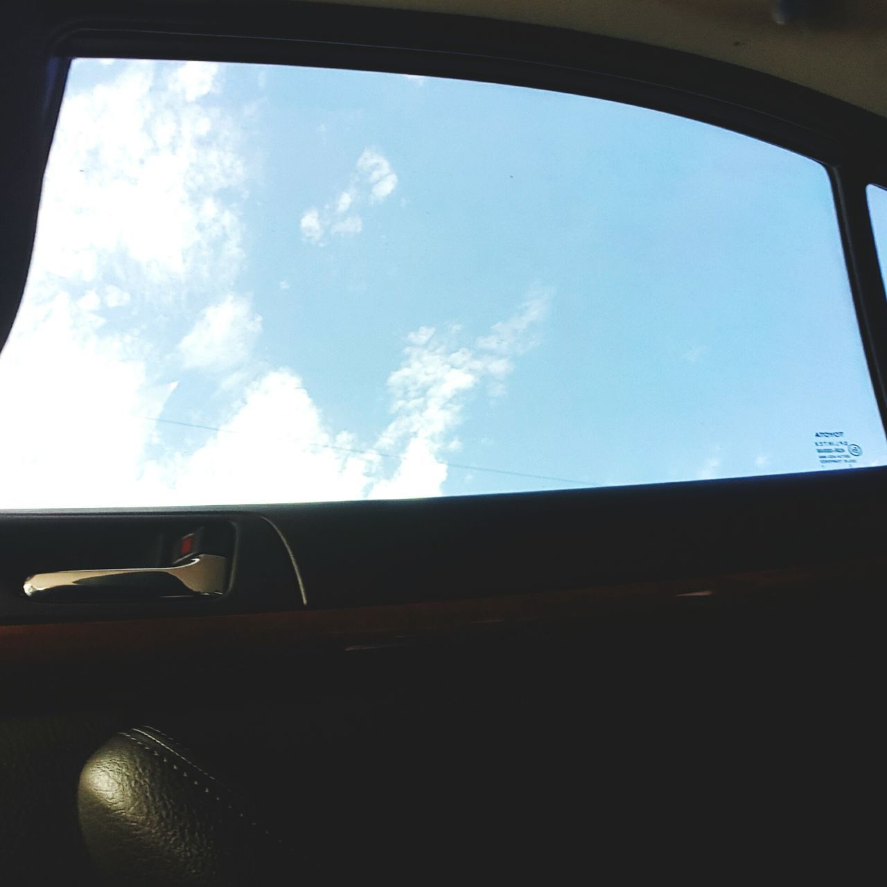 vehicle interior, car, transportation, car interior, mode of transport, land vehicle, sky, cloud - sky, side-view mirror, no people, day, vehicle part, vehicle seat