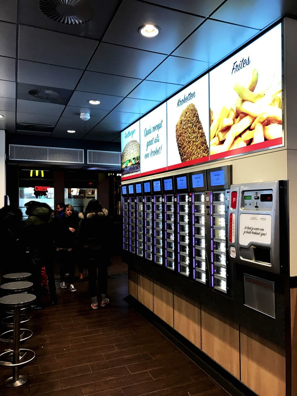 store, retail, customer, choice, consumerism, indoors, illuminated, real people, food, technology, vending machine, day, people