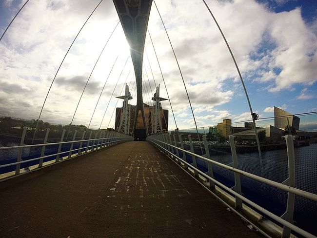 MediaCityUK... The Way Forward Sky Transportation Architecture Railing Built Structure Bridge - Man Made Structure Connection Suspension Bridge Cloud Cloud - Sky Long Cable Diminishing Perspective Surface Level Water Cable-stayed Bridge Engineering Vanishing Point Day Salford