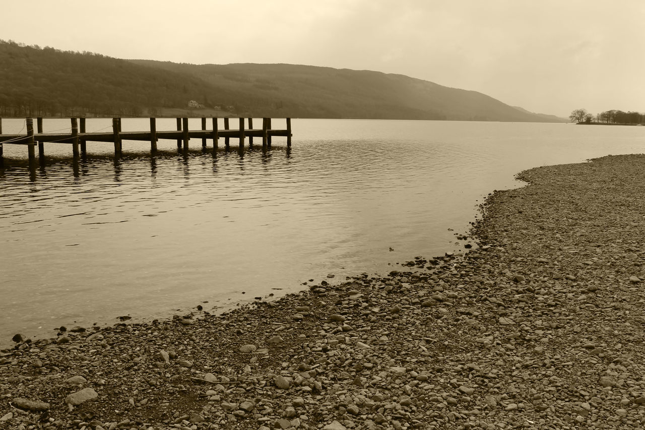 Beauty In Nature Coniston Coniston Water Lake Lake District Lake View Lakeside Lakeside Beauty Lakeside Dock Pier Shoreline Water Lake District Series The Lake District  Coniston Waters Waterfront♥ Lakedistrict Lakes  Lake Shore Wooden Pier Sepia Photography Sepia