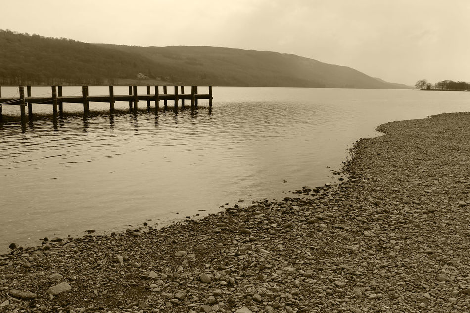 Beauty In Nature Coniston Coniston Water Lake Lake District Lake View Lakeside Lakeside Beauty Lakeside Dock Pier Shoreline Water Lake District Series The Lake District  Coniston Waters Waterfront♥ Lakedistrict Lakes  Lake Shore Wooden Pier Sepia Photography Sepia EyeEm Best Shots - Landscape Sepia_collection EyeEm Best Shots