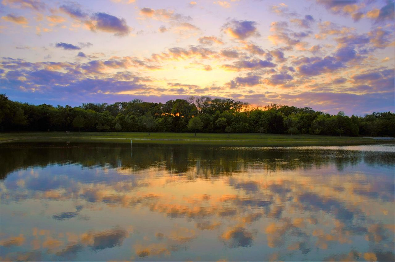reflection, water, lake, sunset, sky, tree, nature, tranquil scene, beauty in nature, waterfront, scenics, tranquility, cloud - sky, no people, outdoors, day