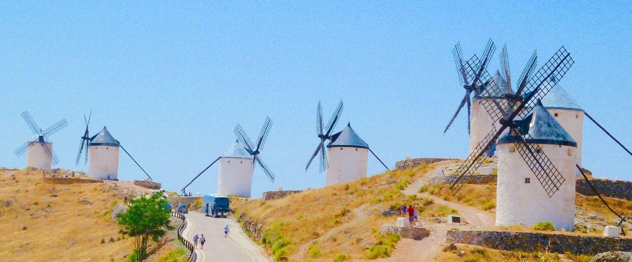 Consuegra Spain Don Quixote Whitewashed Windmills Spanish Tourism La Mancha Windmills