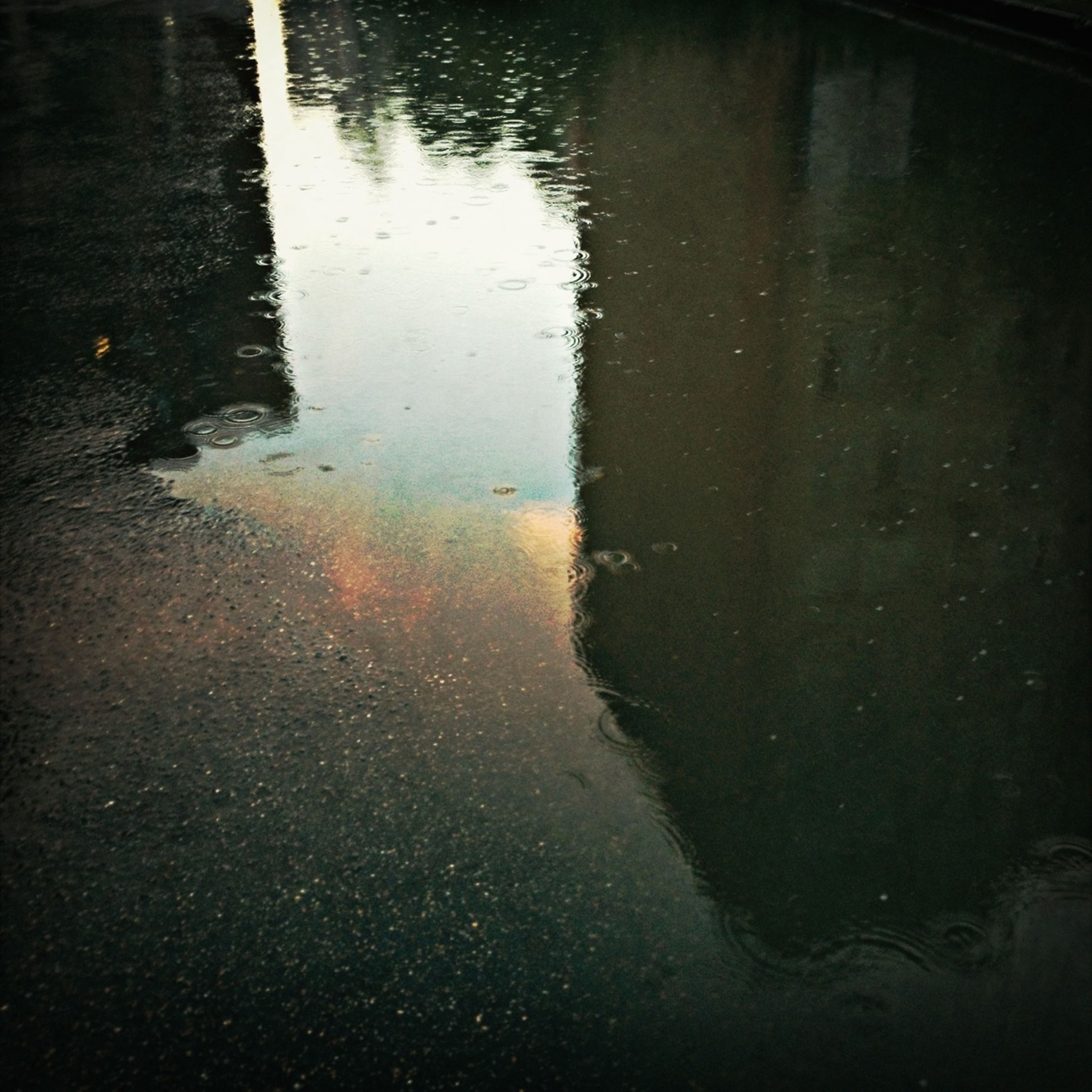 water, reflection, wet, puddle, high angle view, rain, street, transportation, rippled, road, asphalt, lake, waterfront, night, outdoors, no people, nature, river, standing water