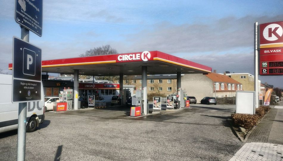 Petrol station Gas Station Fuel Pump Red Gasoline Equipment Consumerism City Life City Outdoors Text Neon Refueling Building Exterior No People Day copenhagen Denmark