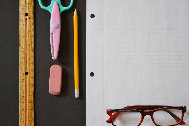 Paper Pencil Ruler Stationery Desks From Above Write Desk Eraser Scissors On My Desk Glasses School