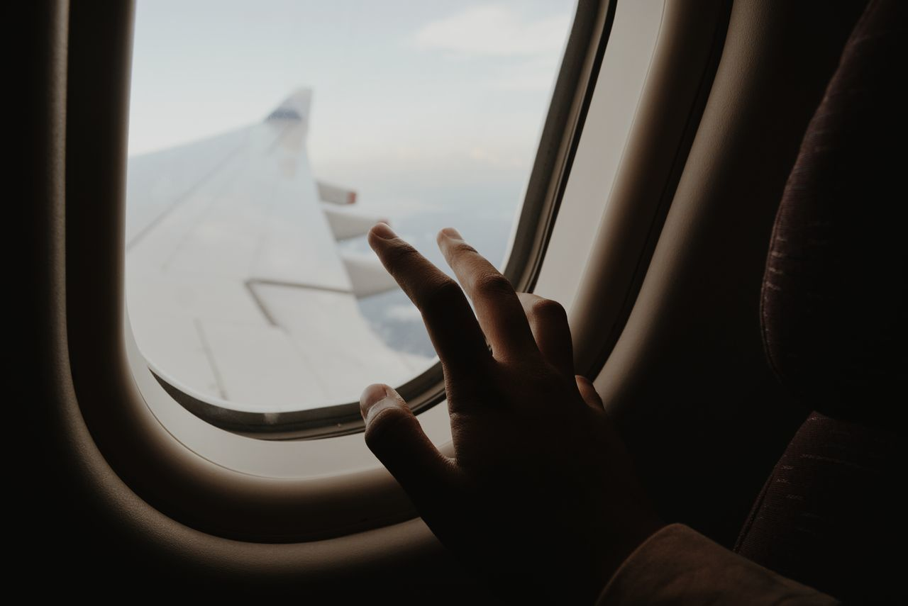 Beautiful stock photos of plane, real people, airplane, window, human hand