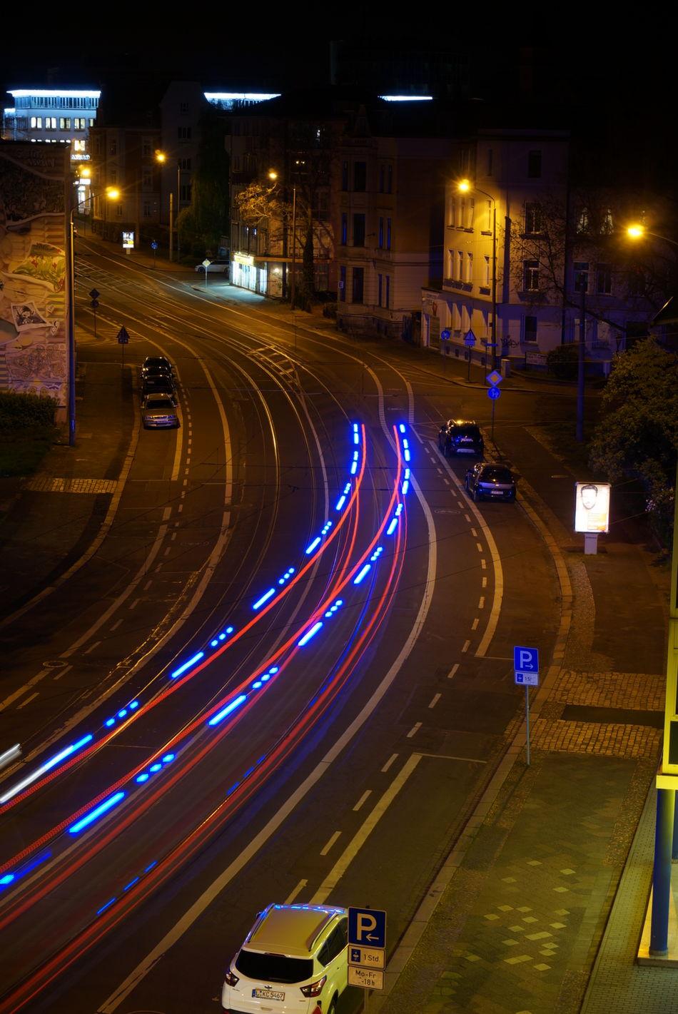 Night Illuminated Traffic Speed Road Light Trail Street Transportation Curve Street Light Car Long Exposure City Motion Outdoors No People Neon