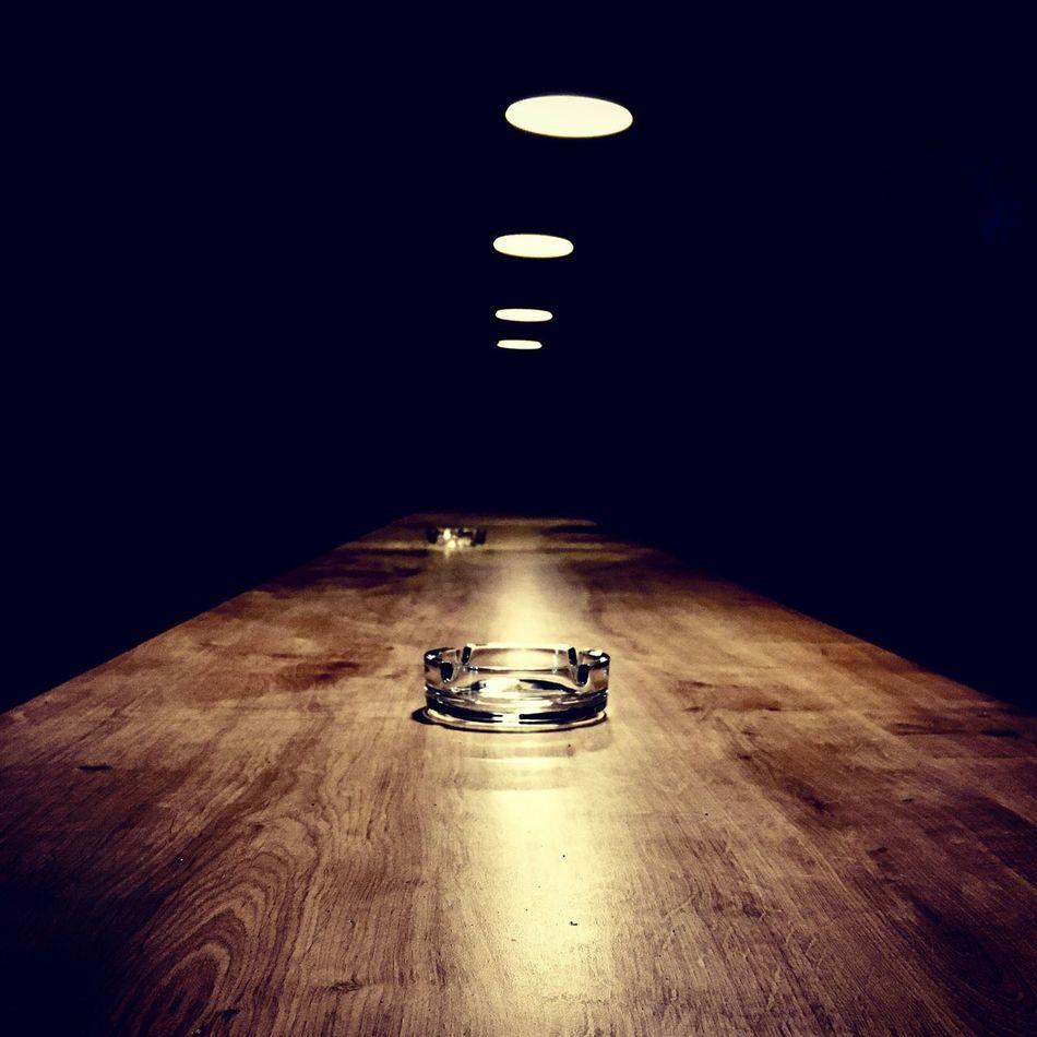 Table Illuminated Night No People Indoors  Light And Shadow Light Ashtray
