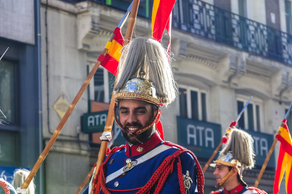 Head portrait of cavalry soldier smiling in Madrid. Adult Cavalry Costume Cultures Day Editorial  Guard Hat Headwear Horse Horses Military Mounted News One Man Only One Person People Smiling Street Traditional Clothing Travel Uniform