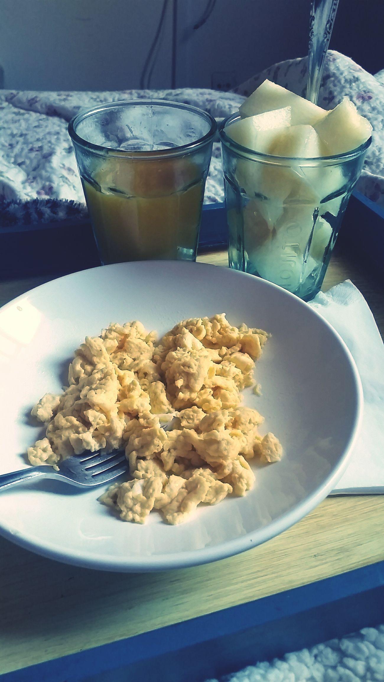 Breakfast InBed Scrumbleeggs Orangejuice Melon Perfect