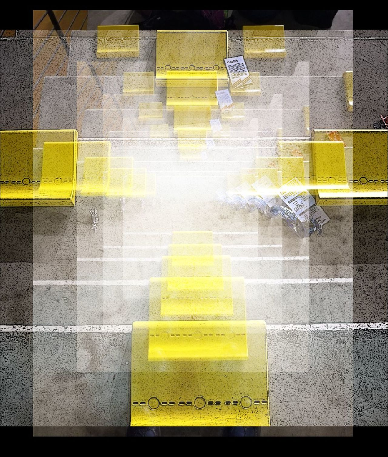 EyeEmNewHere Yellow Gym Time No People Communication Day Outdoors Architecture Reflection Togetherness Relaxation 3D👓 3D Photo Cut And Paste