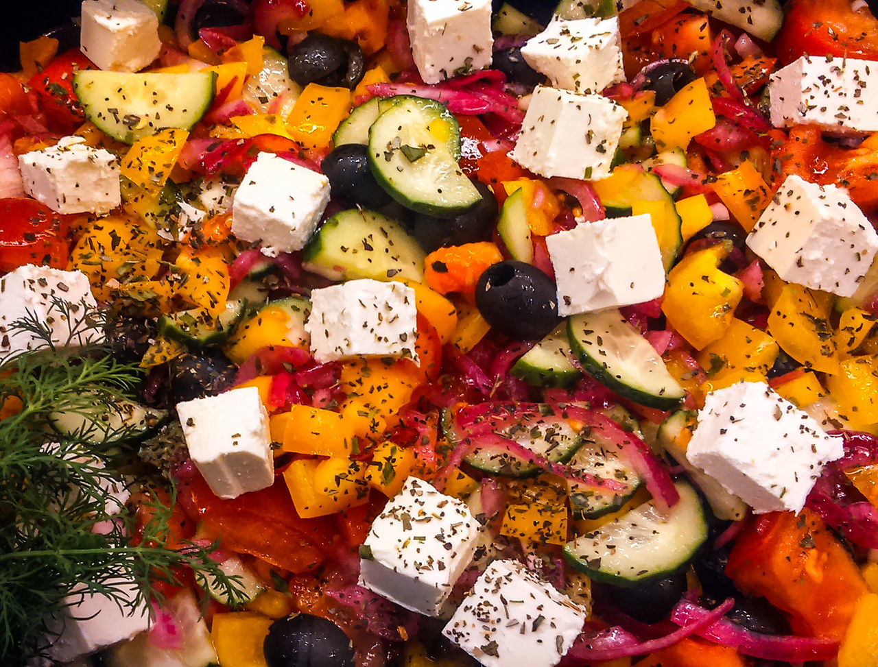 Salad of red and yellow bell peppers, black olives and feta cheese Abundance Backgrounds Bell Black Cheese Close-up Day Feta Food Freshness Full Frame Healthy Eating Indoors  Large Group Of Objects Market Multi Colored No People Olives Peppers Ready-to-eat Red Salad Variation Yellow