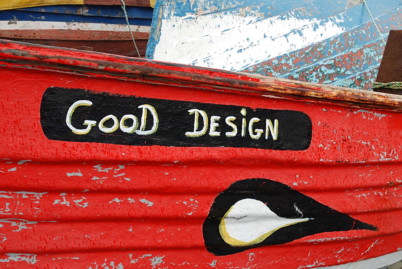 Close-up Day Good Design No People Outdoors Red Rowing Boat Text Textures And Surfaces
