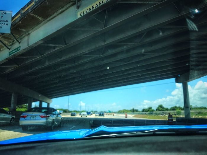 Overpass Under Drivers View Highways&Freeways Low Angle View Cars Driving Around Daytime