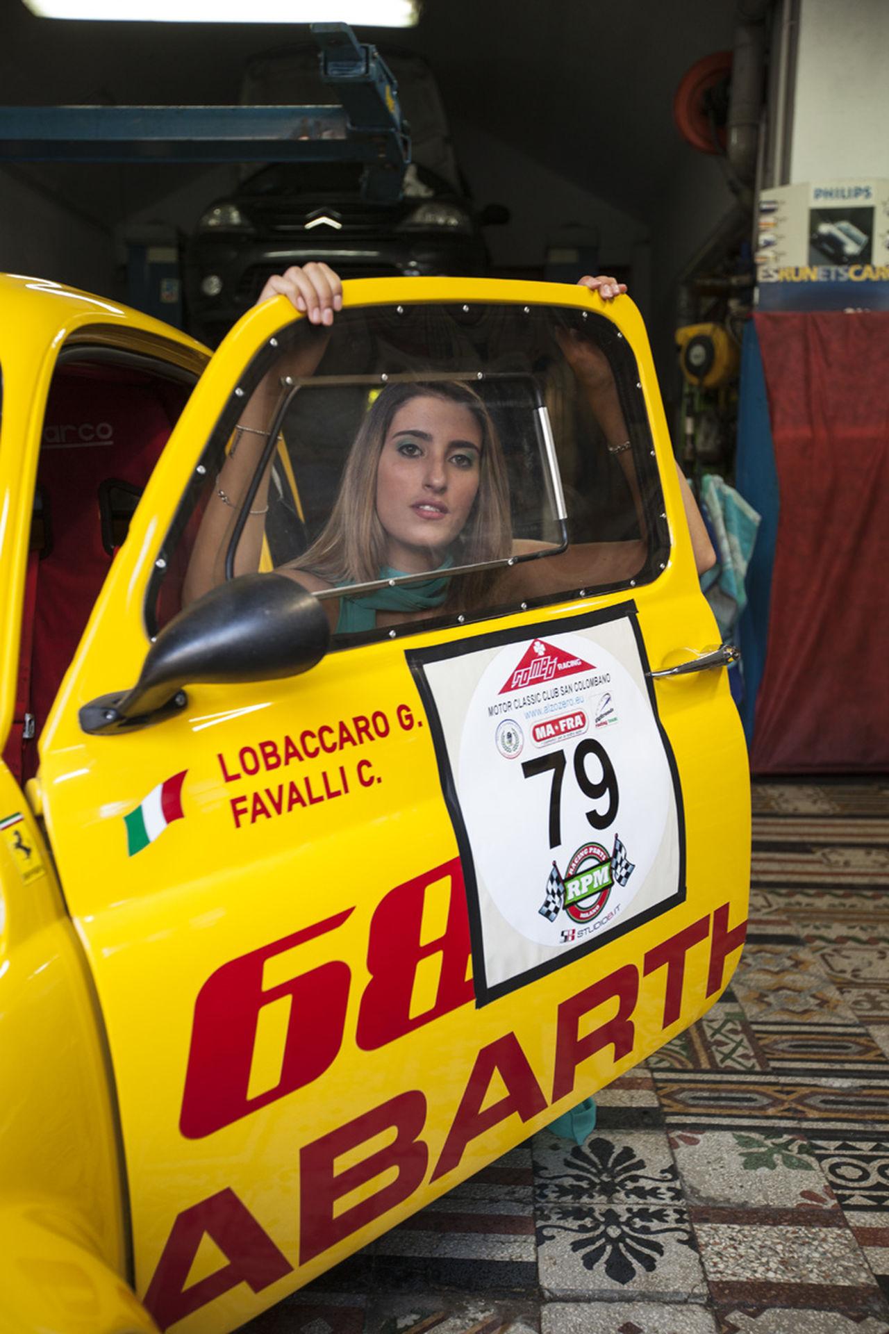 Abarth Car Girl Italian Car Race Car Small Car Yellow Yellow Car