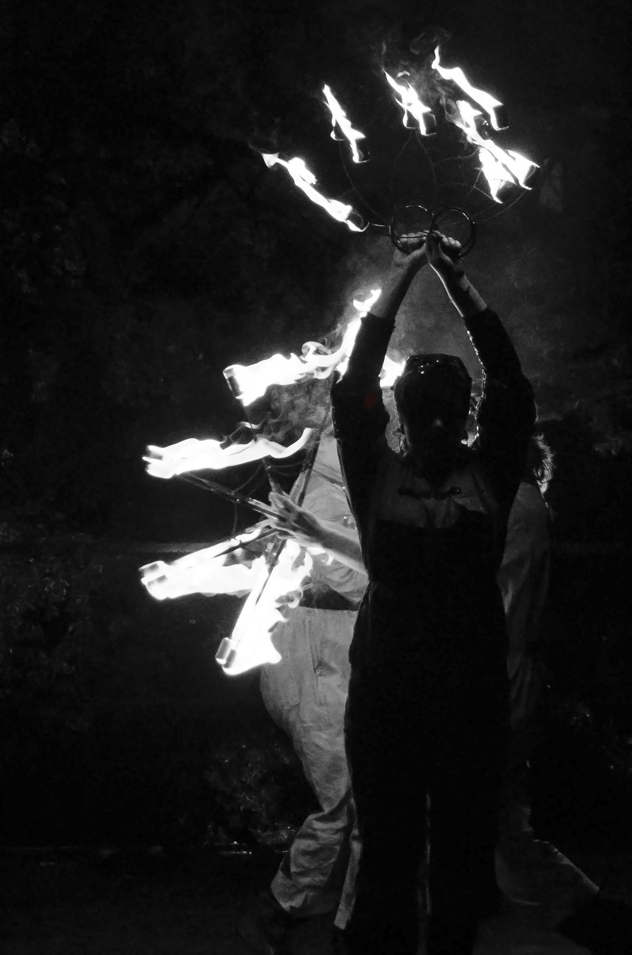 Black And White Botanical Gardens Burning Dance Darkness Dramatic Fire Flame Glasgow  Group Intense Lux Botanicum Monochrome Night Outdoors Perfom Performer  Portrait Silhouette Torce Unrecognizable Person