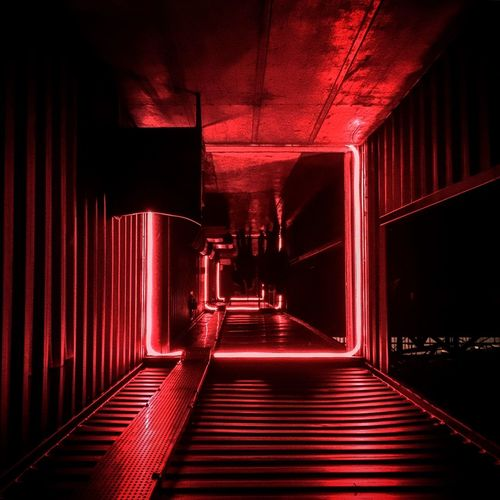 Built Structure Red Architecture Illuminated Walkway Long Narrow Night Club Clubbing Dark Upside Down Contrast The Way Forward Love Family Modern Landscape Industrial Nightlife Urban Architecture Urban Geometry Geometric Shape Surface Level No People
