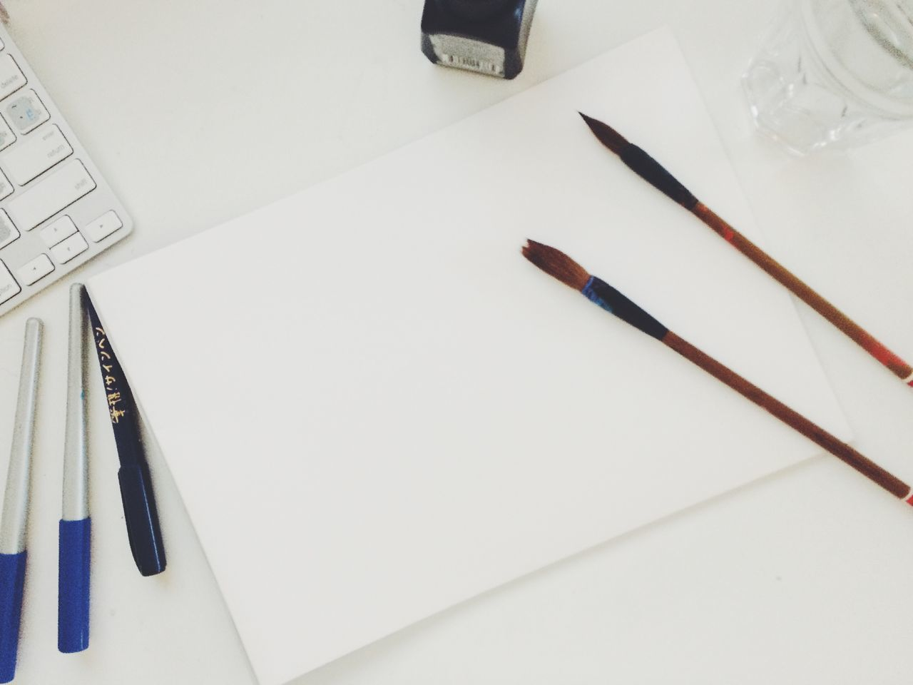 Brushes Canvas Close-up Day Desk Drawing - Art Product Education Empty Fountain Pen High Angle View Indoors  Mock Up Nib No People Office Office Supply Paper Pen Pencil Ruler Writing Instrument