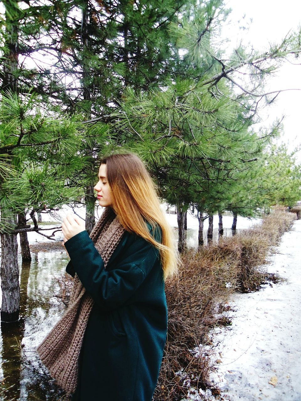 Side View Of Young Woman Holding Tree Branch During Winter