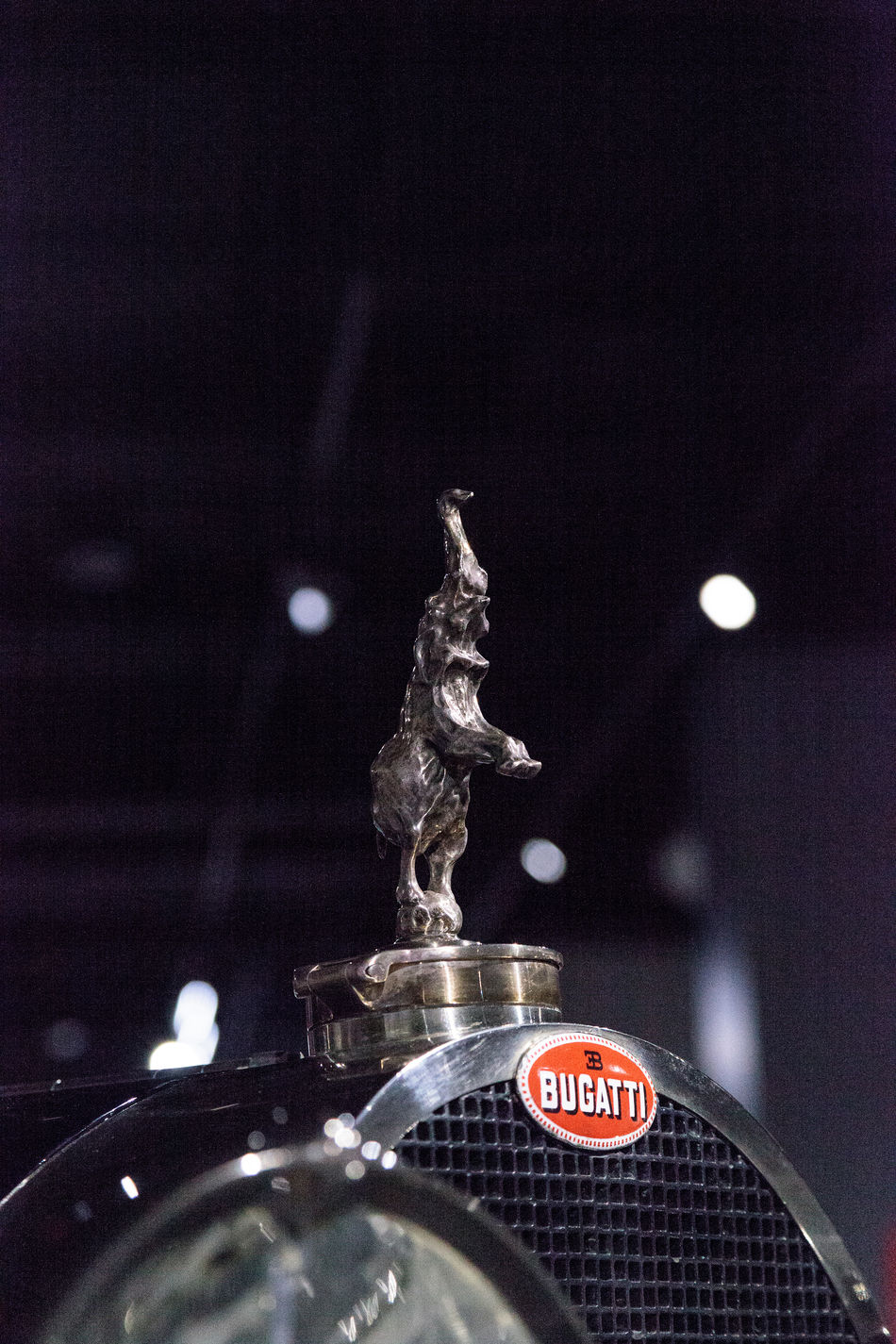 Los Angeles, CA, USA - March 4, 2017: Rearing elephant hood ornament on a 1932 Bugatti Type 41 Royale by Binder at the Petersen Automotive Museum in Los Angeles, California, United States. Editorial only. 1932 Antique Bugatti Classic Car Elephant Hood Ornament Luxury Luxurylifestyle  Old Car Petersen Automotive Museum Royale Transportation Type 41 Vintage