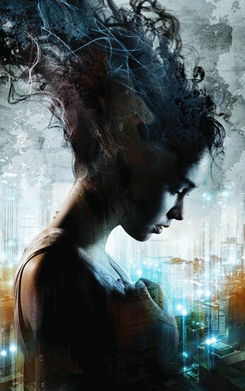 profile view, one woman only, adult, only women, side view, women, young adult, one person, adults only, human face, females, young women, night, people, one young woman only, indoors, close-up, dissolving