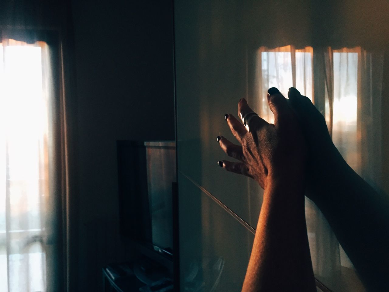 Catching Light, by Claudia Ioan Indoors  Real People Human Hand One Person Window Home Interior Close-up Day VSCO Mobile Photography Iphone6 Home Curtain Minimalist Architecture