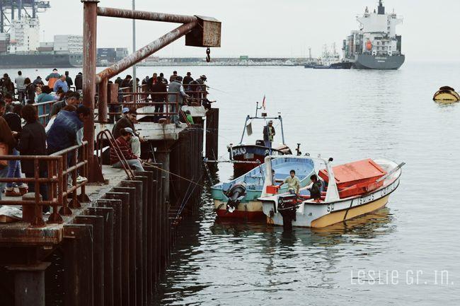 Leslie_Gr_In Sanantonio Chile Mar Caleta Puerto Pescadores People Botes Beach
