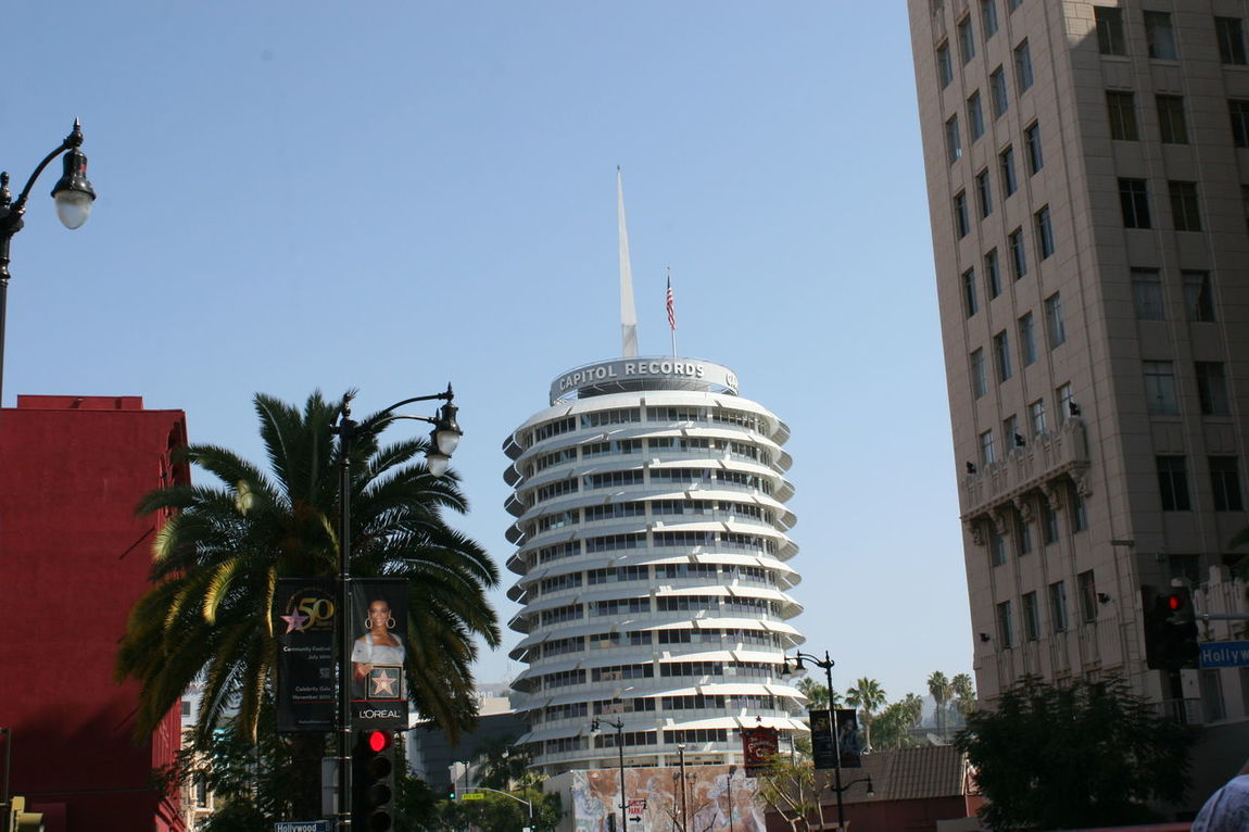 Capitol Records Building in Hollywood Architecture Building Exterior Built Structure Capitol Records Capitol Records Building City Day Hollywood Modern No People Outdoors Palm Tree Skyscraper Tower Tree