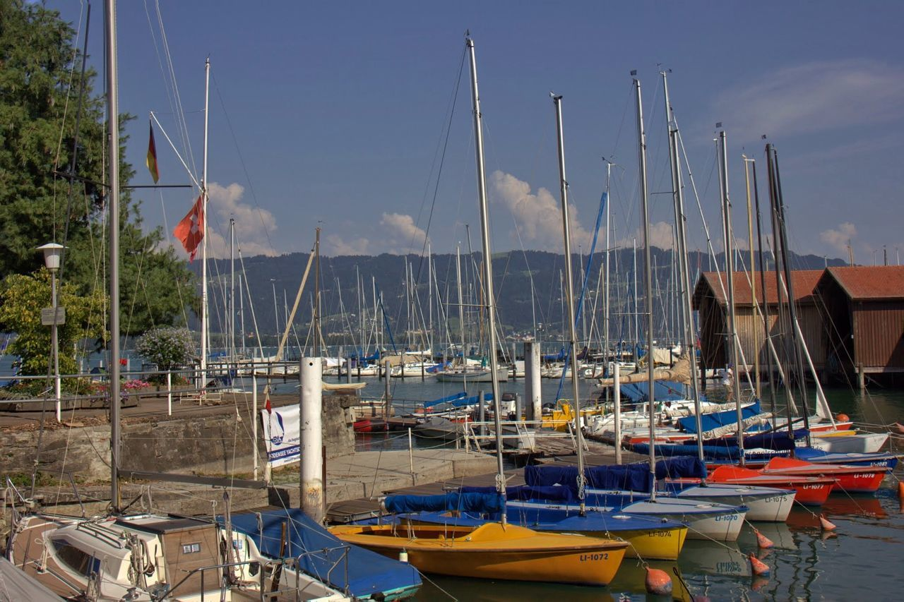 Abundance Blue Boat Cloud Day Harbor In A Row Lindau Bodensee Mast Mode Of Transport Nature Nautical Vessel No People Outdoors Sailboat Side By Side Sky Sommer Sonne Sonnenschein ❤ Sunny Day Transportation Water Showcase June