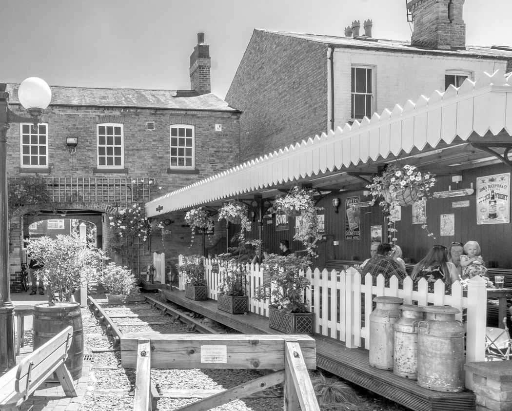 Platform garden, The Final Whistle, Southwell, Nottinghamshire Nottinghamshire FUJIFILM X-T2 Monochrome Photography Black And White Blackandwhite Southwell Nottingham Pubs Pubs