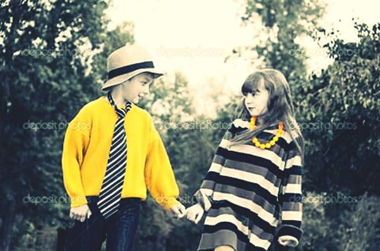 two people, young adult, young women, striped, yellow, adult, young men, togetherness, people, adults only, outdoors, day, bonding, portrait, nature