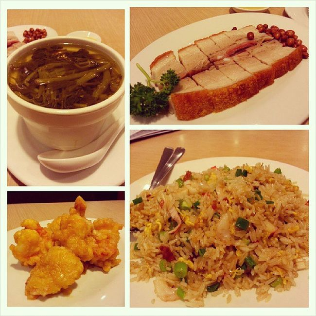 Watercress with pork rib soup, roast pork, salted yolk prawns & Crystaljade signature fried rice Dinner Chinese Foodporn yummy food instafood foodie happytummy burpple