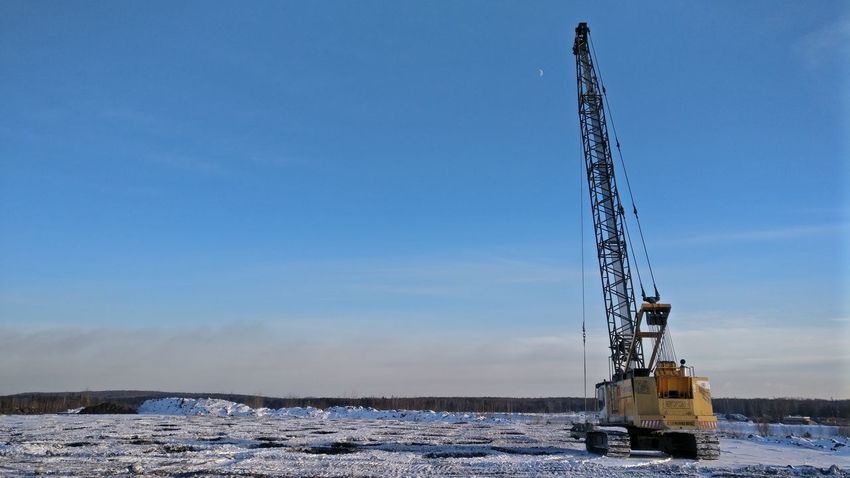 Cold Temperature Day Drilling Rig Industry No People Outdoors Sky Snow Winter
