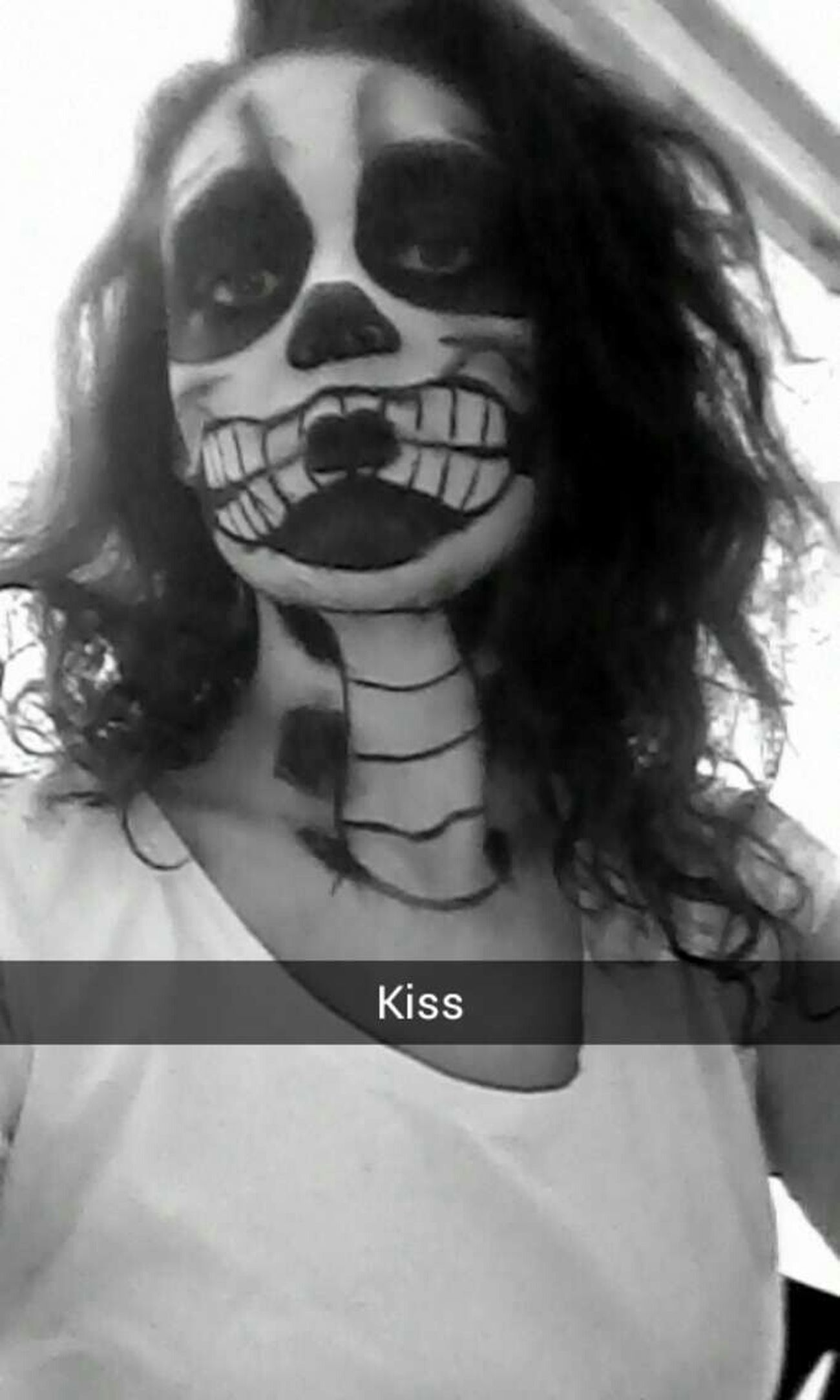 Maquillage Hallloween Squelette Tuto #noir #blanc #heureuse #31octobre #2k14 #friend #smile