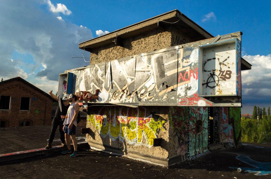 Say Käse. Architecture Built Structure Building Exterior House Sky Day Cloud - Sky Deterioration Outdoors Laundry Abandoned Places Selfie EyeEm Factory Adventure