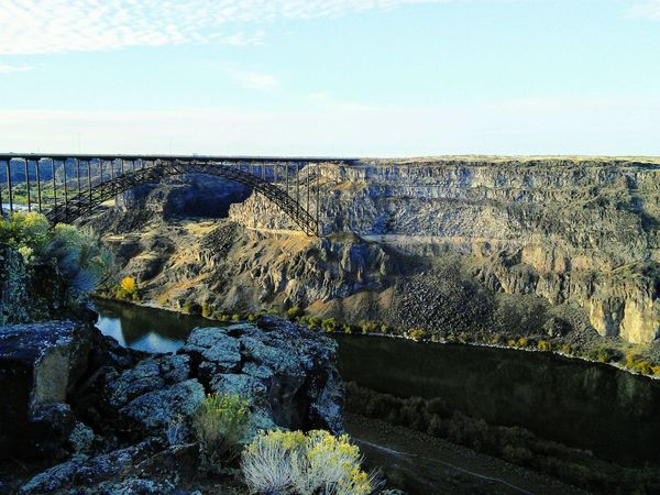 @idaho Nature Beauty In Nature Day Outdoors No People Sky Scenics Landscape Sea Water Horizon Over Water Bridge Twin Falls, Idaho
