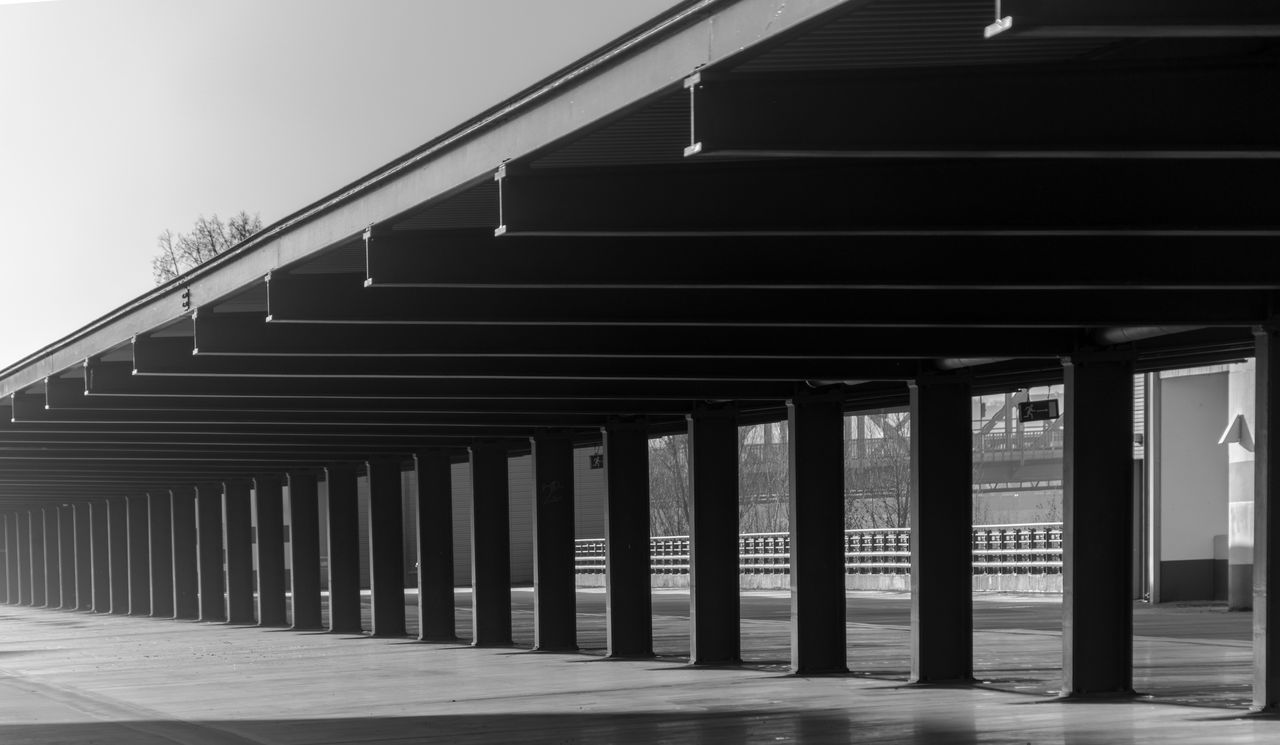 Architecture Berlin Photography Berliner Ansichten Black And White Built Structure Ceiling Day Empty Garage No People Outdoors Parkdeck Parkhaus Pattern Roof Row Urban Exploration