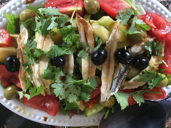 Healthy Salad Marinated Anchovies Salad Freshness Healthy Eating Cucumber Tomatoes Boiled New Potatoes Olives Coriander Low Caliries Colour Image Nobody Horizontal Healthy Food Lunch