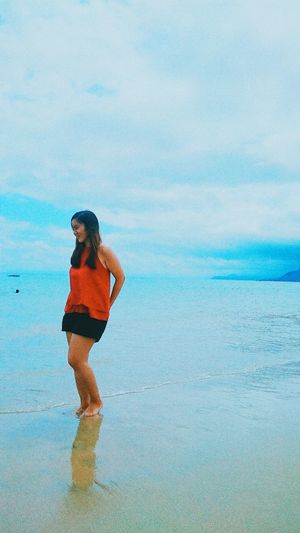 Blue Reflection One Person Water Wet Beach One Woman Only Outdoors Sand Standing Sky Sea Nature BalerAuroraPhilippines Eyeem Philippines