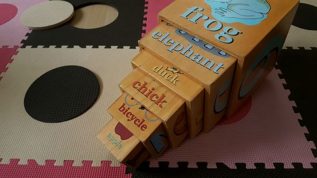 Floor Mat Childs Toy Wooden Boxes Circles Squares Stacking Box Counting Numbers Playtime